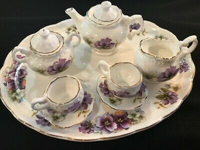 Golden Crown 10 pc Minature Fine Bone China Tea Set