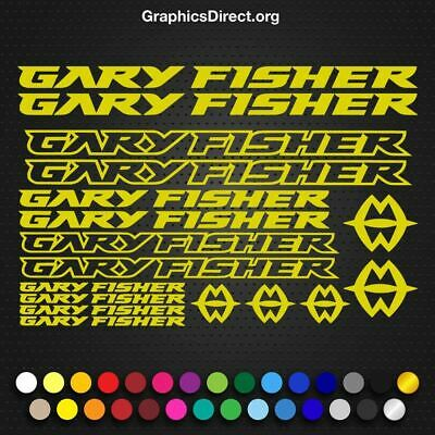 Gary Fisher Mountain Bicycle Frame Decals Stickers Adhesive Set Vinyl Yellow