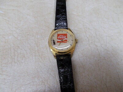 Coca Cola Mechanical Wristwatch, Wind Up With Rotating Coke Bottle
