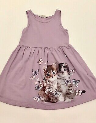 H&M Girls Sundress Purple with Cat Butterfly print size 2-4year