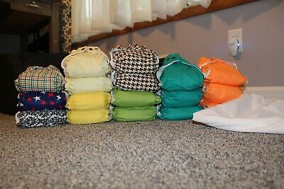 17 Cloth Diapers lot, One Size Adjustable Pocket w/3 inserts per diaper