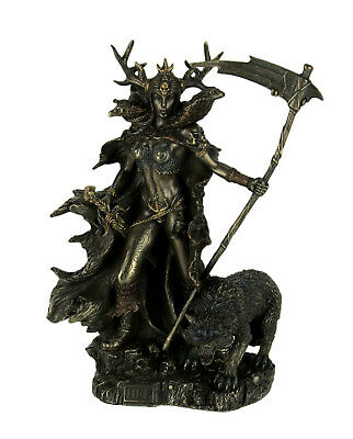 Hel Norse Goddess of the Underworld Holding Scythe with Birds and Wolf Statue