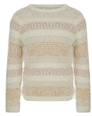 Monsoon Girls Teresa Ivory Mix Knitted Jumper Age 7-8 Years Bnwt Metallic