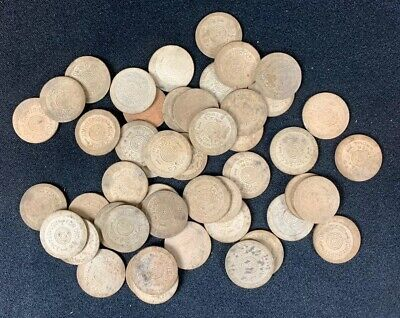 48 Fiber Oklahoma Sales Tax Tokens, Old Age Assistance, White 1940's