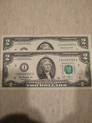 25  NEW Uncirculated $2 two Dollar Bill Note USD BEP