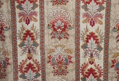 Antique French Stylized Kilim Design Cotton Fabric ~Teal Blue Red Ochre