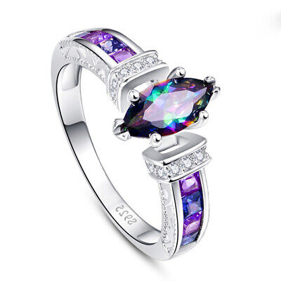 Charm Silver Ring Women Marquise Cut Mystic Topaz Wedding Engagement Ring Size 9