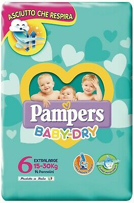 PAMPERS BABY DRY  - EXTRALARGE MIS. 6 (15- 30 kG) PZ 84