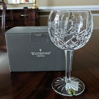 """Waterford Crystal New LISMORE 7"""" Balloon Wine Glass Ireland Made 8 Oz is NOS"""
