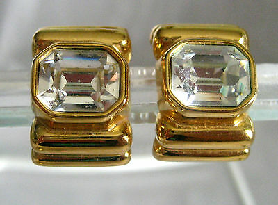 Joan Rivers Diamond And Gold Clip On Earrings Gold Tone Simulated Diamond