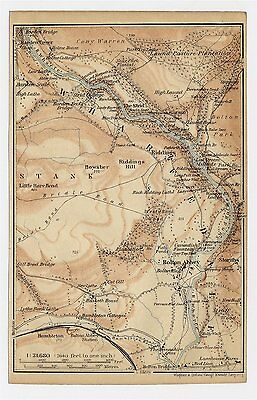 1906 Antique Map Of Wharfedale / Yorkshire / England