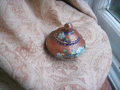 Old Vintage Chinese Cloisonne Enamel Small Lidded Pot Gold Plated Brass Floral