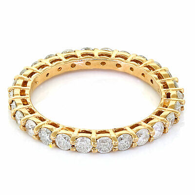 14k Rose Gold 1ct Natural Round Diamond Shared Prong Ladies Eternity Band Ring