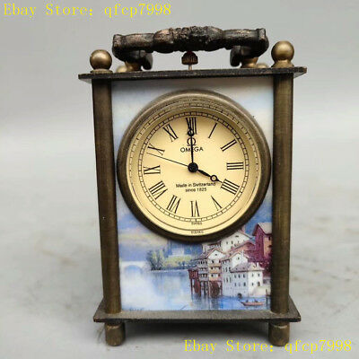 Collection Old Chinese Pure copper painting people Western Mechanics Desk clock