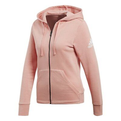 Adidas Womens Solid Full Zip Trace Pink Hoodie Hoody Sizes Xs S M L Rrp £45