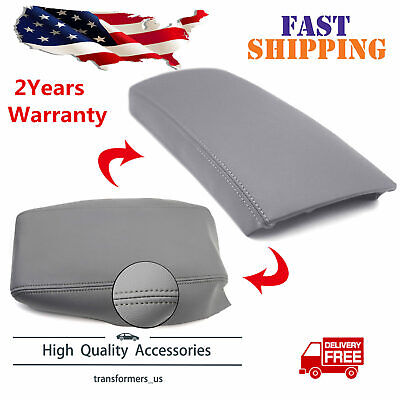 Real Leather Center Console Lid Armrest Cover For 2004-2009 Toyota Prius Gray
