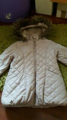 John Rocha Girls Taupe Beige Hooded Coat Age 5-6