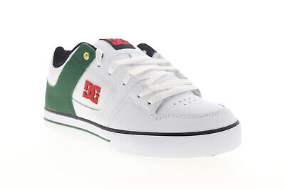 DC Pure SE 301024 Mens White Leather Lace Up Athletic Skate Shoes