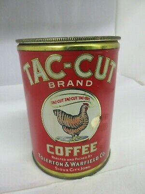 Vintage Tac-Cut  Coffee Tin   Advertising Collectible  941-P