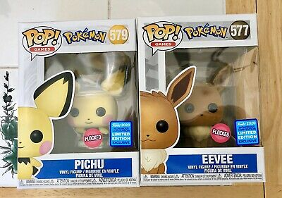 FUNKO POP Eevee & Pichu Set Flocked Wondercon Shared Exclusive Pokémon In Hand