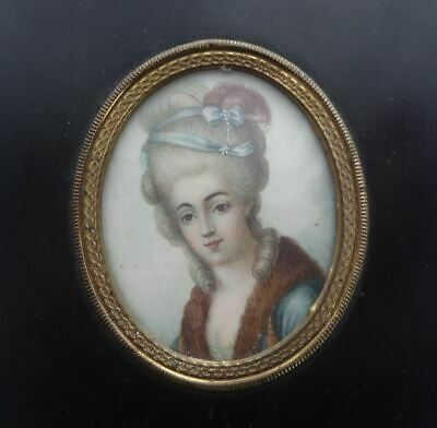 GOOD QUALITY ANTIQUE 19th CENTURY FINELY PAINTED PORTRAIT MINIATURE OF A LADY