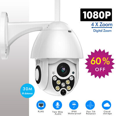 Wireless WIFI IP Outdoor Home Security Camera 1080P PTZ Pan Tilt 4X Zoom IR CCTV