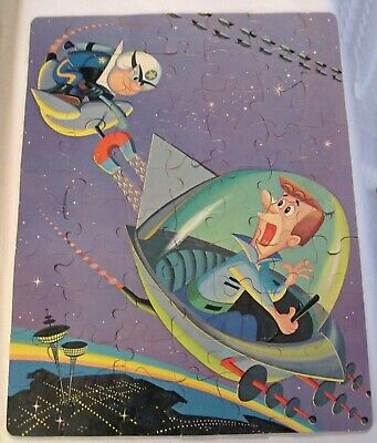 Jetsons NO BOX Complete Jigsaw Puzzle Police Chasing George in Flying Car