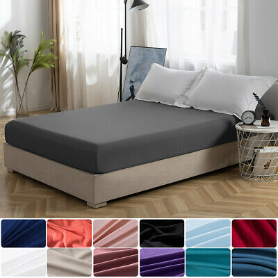 16'' Extra Deep Bed Fitted Sheet Elastic Bottom Sheet Brushed Microfiber Queen