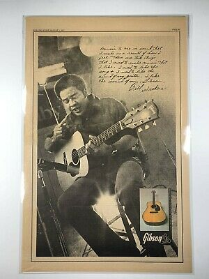 GIBSON Acoustic Guitar BILL WITHERS RIP Original 1973 Vintage Album AD