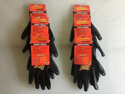 LOT OF 4  PAIRS FOR  WORK AND PROTECT HANDS LARGE GLOVES DIESEL PRO-TEKK