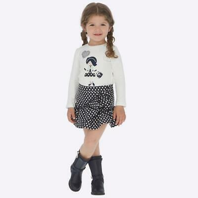 Mayoral navy and cream girls skirt and long sleeve top set fit 2 years