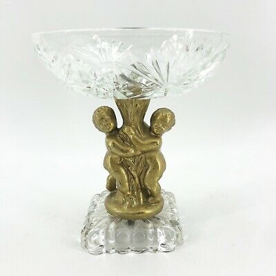 Vintage Crystal Compote Bowl Centerpiece Brass Cherubs Hollywood Regency MCM