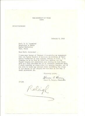 1942 personal signed letter Homer P. Rainey, U. of Texas Austin
