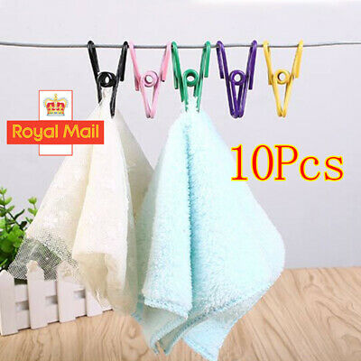 40xWindproof Metal Wire Clamps Washing Line Clothes Pegs Hang Pins Clips