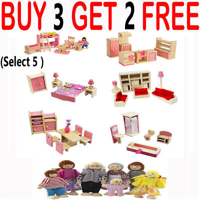 Dolls House Furniture Wooden Set Miniature 6 Room People Doll Toys Kids Play LY