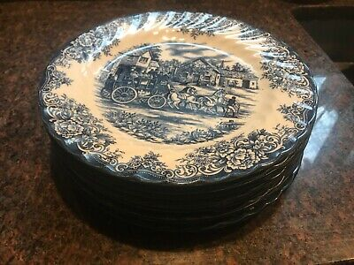 NEW royal stafford fine earthenware blue dinner plates.