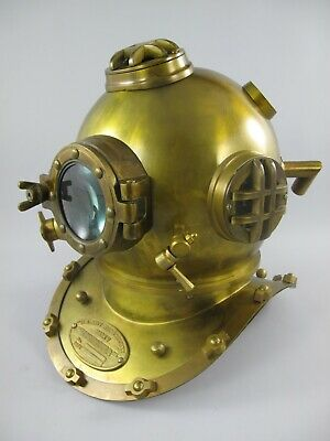 Taucherhelm Mark V Navy Diving Helmet 1897 Messing/Kupfer brüniert Replika