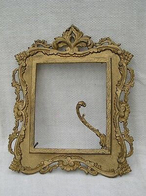Vintage Ornate Cast Iron Standing Picture Frame Marked EI & R Co P