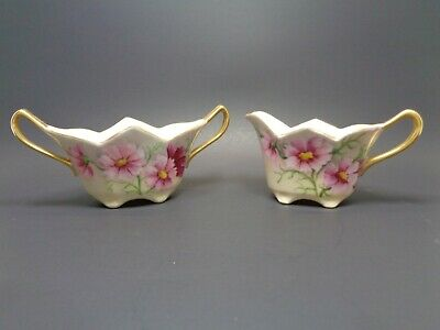 Victorian Porcelain Lusterware Creamer & Open Sugar Pink Floral Gold Accents