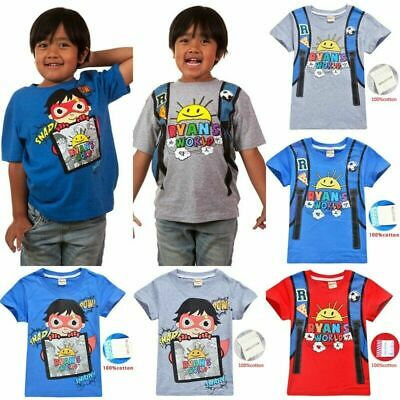 New Boys Girls Ryan Toys Review 100/% Cotton Casual Short Sleeve T-Shirt Tops
