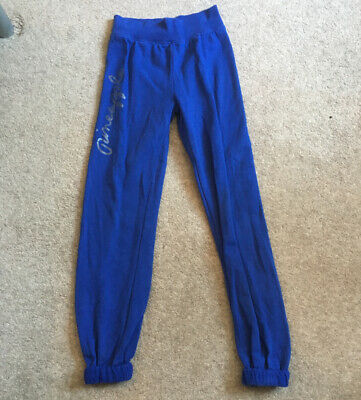 Pineapple Girls size 9-10 years Blue track suit bottoms joggers waist band dance