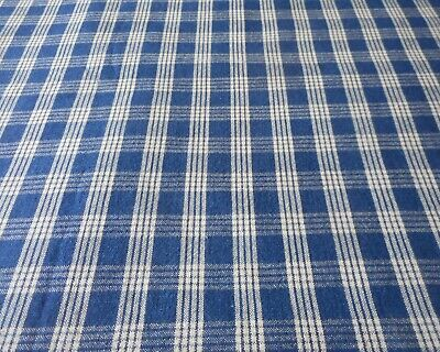 Antique Dark Indigo Blue Homespun Plaid Cotton Fabric #2~  Americana Farmhouse