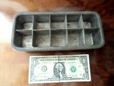 1920's Antique steel Icebox Freezer Ice Cube Tray Solid Metal CUTE AS A BUTTON!