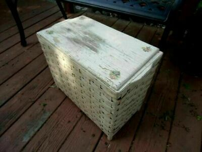 ADORABLE Antique Hamper Rose Decals WICKER Wood Shabby Chippy White Paint SWEET!