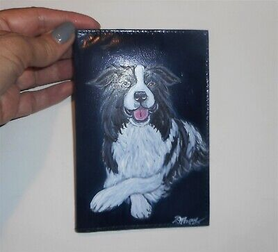 Border Collie Dog Hand Painted Leather Passport Travel Case