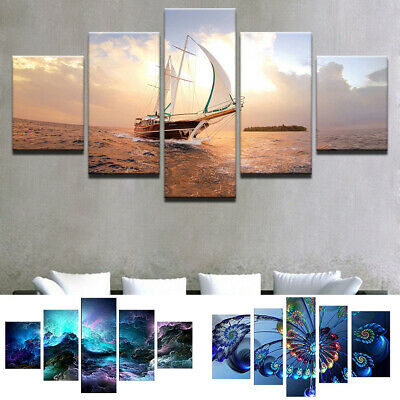 5 Panels Unframed Modern  Canvas Oil Painting Picture Room Wall Hanging Decor Uk