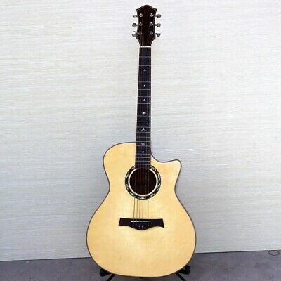 Electric Acoustic Guitar 6 String Solid Spruce High Gloss Cutway Design With EQ