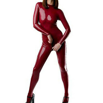 Latex Rubber Overall Bodysuit Red Cosplay Sexy Wetlook Tight Catsuit S-XXL 0.4mm