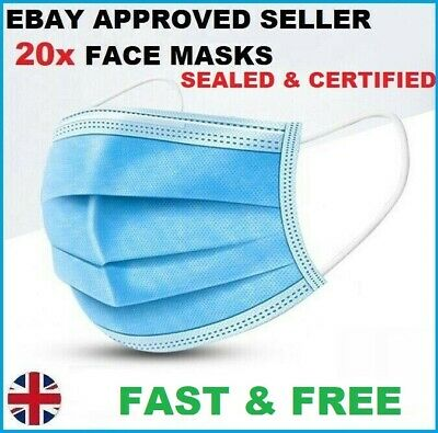 20x Face Mask Surgical Disposable Mouth Guard Cover Face Masks Respiration U.K.