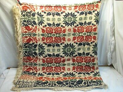 Antique Coverlet Loom Woven Bed Spread Linen 1836 Blanket Freeburg PA York